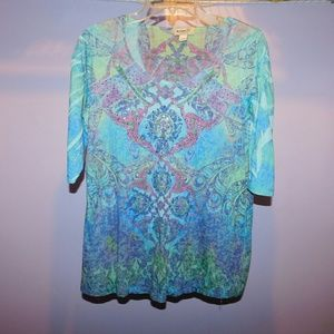 Tops - Colorful 3/4 sleeve shirt L